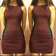 Burgundy BCBG Dress. NWOT Sides have leather. Triangle cutout back. Perfect for any party !! BCBGeneration Dresses Mini