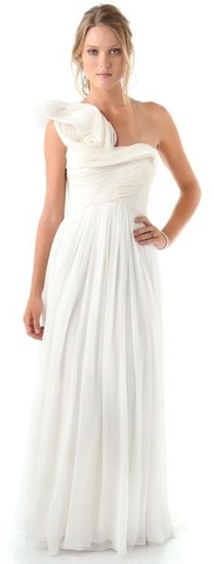 @roressclothes clothing ideas #women fashion Marchesa One Shoulder Gown with Pleated Bodice in White