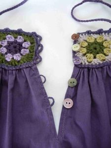 """* Thanks to Marlene for the name """"Granny Dress"""" because she is … - Dress Crochet Baby Dress Pattern, Crochet Yoke, Baby Dress Patterns, Crochet Fabric, Crochet Girls, Crochet Baby Clothes, Crochet Blouse, Diy Blouse, Cute Summer Dresses"""
