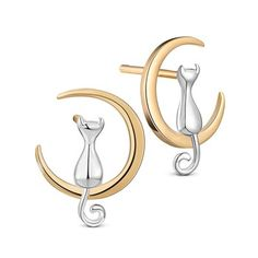 SWEETIEE® Unique Design 925 Sterling Silver Ear Studs, with Kitten in the 24K Gold Plated Moon, 14x10mm
