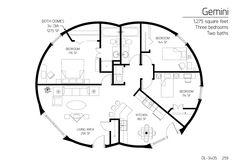 3 (larger) bedrooms, 2 bath, 1275 sq. feet. nice layout