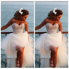 Sweetheart beading beach wedding dresses,white wedding dress,short front long…