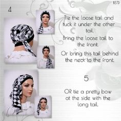 How to tie the Cap-n-Wrap Scarf - Modest Anytime White Cherries, Brown Floral, Head Wraps, Scarf Wrap, Headscarves, Blue And White, Cap, Sewing, Beauty