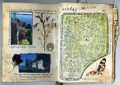 travel journal- the numbered tabs correspond with the dates of the trip- . the plant life looks like it is under shipping tape. Nature Journal, Art Journal Pages, Art Journals, Travel Journals, Travel Books, Journal 3, Journal Layout, Kunstjournal Inspiration, Art Journal Inspiration