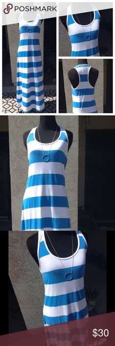 Tommy Bahama Blue & White Striped Maxi Dress Super comfy, relaxed fit long dress. Flattering racer back to show off your shoulders. Soft a light, perfect for any relaxing summer activity  Tiny hole in the back where the tag was attached. Length from shoulder to hem: 53in Tommy Bahama Dresses Maxi