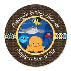 Under The Sea Critters - 24 Round Personalized Baby Shower Sticker Labels. Go to: http://www.modern-baby-shower-ideas.com/fun-baby-shower-ideas.html use coupon code: modern11 and save 11%