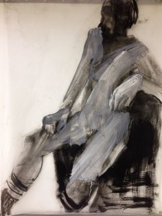 Charcoal & acrylic life drawing on Mylar - Karen Darling