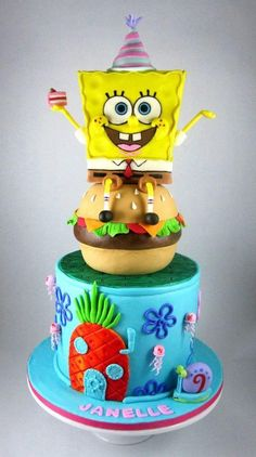 A spongebob cake made by Artfetti Cakes 4 years ago! Thought we should share this cake with you all! Spongebob Birthday Party, Movie Cakes, First Communion Cakes, Paris Cakes, Fantasy Cake, Horse Cake, Book Cakes, Character Cakes, Disney Cakes