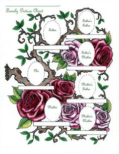 A beautiful genealogy chart. Place your family pictures among the roses.