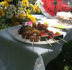 """Pick Up Sticks"" Summer Picnic ... southern food on a stick, plus southern heritage dessert of Coconut Cake Waffle Sticks with White Mountain Icing, from Green Palm Inn in #Savannah #GA USA. Photo © Sandy Traub"