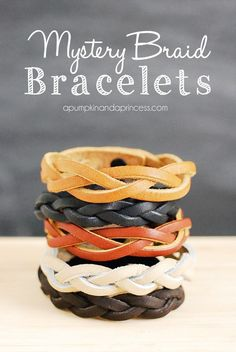 How to make a mystery braid bracelet. Tutorial using precut leather with a snap from Michaels and Hobby Lobby.