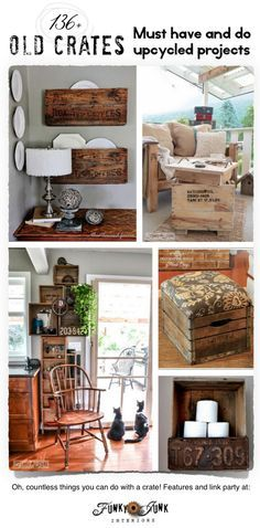 136 Upcycled Old Crate Projects! Outstanding ideas on what you can do with a crate! via FunkyJunkInterior. Pallet Furniture, Furniture Projects, Home Projects, Old Crates, Wooden Crates, Little Presents, My New Room, Country Decor, Decoration