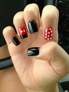 Disney nails mickey and minnie mouse design nail art designs Minnie Mouse Nails, Mickey Mouse Nails, Mickey Mouse Nail Design, Disney Nail Designs, Red Nail Designs, Diy Nails, Cute Nails, Nagellack Design, Nails Polish