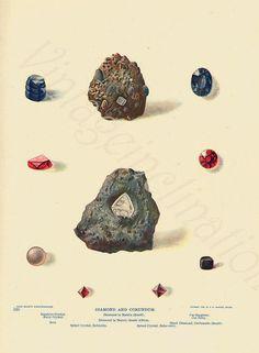 Vintage 1903 DIAMOND Minerals Print Antique by VintageInclination, $15.00