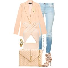 Peachy by highfashionfiles on Polyvore featuring Equipment, Zara, Cushnie Et Ochs, Yves Saint Laurent and Rolex