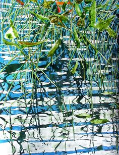 "Micheal Zarowsky - pickerel weed at dusk (skeleton lake)  (5) 30"" x 22"" watercolour on arches paper / private collection"