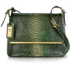 Ghibli Emerald Green Python Leather Shoulder Bag ($948) ❤ liked on Polyvore featuring bags, handbags, shoulder bags, purses, сумки, green, man leather shoulder bag, leather man bag, green leather purse and leather hand bags