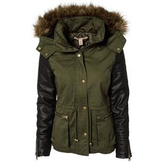 Nly Trend Lowe Jacket (325 BRL) ❤ liked on Polyvore featuring outerwear, jackets, coats, tops, coats & jackets, army green, womens-fashion, zip jacket, zipper jacket and hooded zip jacket