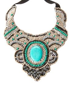 Look at this Turquoise & Hematite Beaded Textile Bib Necklace on #zulily today!
