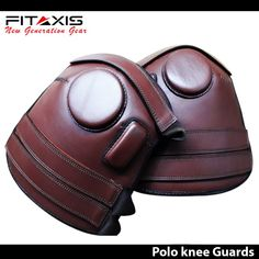 FTIAXIS Polo /& Riding Knee Guard 3 Strap Leather knee Protection Brown Color New