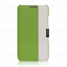 Icarer Two Tune Genuine Leather Flip Cover Case for Galaxy Note 3 N9000 Green White