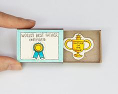 Father's Card Matchbox - Funny Father's Day Card - Father of the Year - World's Best Father - / Gift box / Message box
