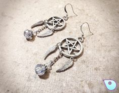 Pentacle Earrings, Wiccan Earrings, Pagan Earrings, Wiccan Jewelry, Gothic Earrings, Pentagram Earrings, Pagan Jewelry, Dreamcatcher Earring by CervelleDoiseau on Etsy