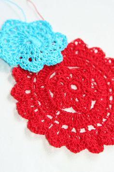 Red and Aqua Doilies