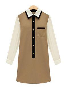 Loose Pattern Long Sleeve Color Block Dress