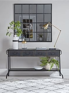 Industrial Iron Console Table - Best Selling Furniture, Home Décor & Accessories Brass Console Table, Industrial Console Tables, Console Table Styling, Hallway Console, Hallway Furniture, Oak Dining Table, Dark Hallway, Dining Room, Luxury Home Furniture