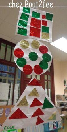 Travaillant sur les formes géométriques et approchant de la période de Noël, j'ai combiné les 2 ! J'ai donné 3 formes découpées dans du canson , à chaque élève (un rond, un carré, un triangle) Puis une barquette avec plein de formes découpées dans du... Water Tables, Creative Teaching, Motor Activities, Shapes, Math, Holiday Decor, Canson, Blog, Diy