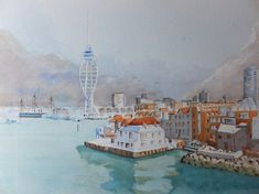 Buy Portsmouth Harbour with Spinnaker Tower, Watercolour by David Harmer on Artfinder. Discover thousands of other original paintings, prints, sculptures and photography from independent artists. Hms Warrior, Portsmouth Harbour, English Channel, Lovers Art, Sailing, Cruise, Original Paintings, Tower, Sky