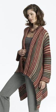 crocheted asymmetrical jacket sweater, free pattern by Caron