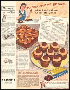 Dying for Chocolate: Chocolate Apricot Cream Cakes: Retro Ad & Recipe Retro Recipes, Old Recipes, Cookbook Recipes, Vintage Recipes, Cake Recipes, Bakers Chocolate, Chocolate Recipes, Chocolate Chocolate, Vintage Baking