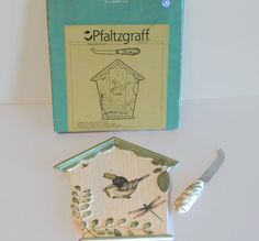 Vintage Pfaltzgraff Naturewood Bird House Cheese Tray With Sculpted Slicer, New In Box - Vintage Kitchen Decor, Vintage Pfaltzgraff by Koalatyvintage on Etsy