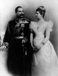 The wedding picture of Kaiser Wilhelm II and Kaiserin Auguste Viktoria.  Kaiser Wilhelm II was the last German Emperor from 1888 until 1918