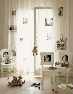 Like the curtains & chair covers -reproducing photographs  transfer photos that you like by Sorted, cut, scanned and zoomed, distribute the images on the fabric and use the transfer technique.