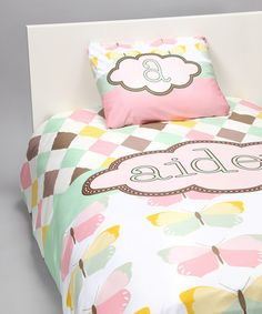 LOVE!! <3 Pink Pastel Butterfly Personalized Duvet & Pillowcase by Tickled Pink NOLA on #zulily today!