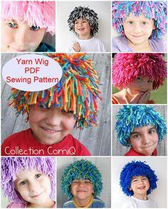 DIY Yarn Wig Sewing Pattern Halloween kids costume wig