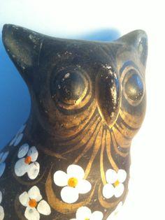 Vintage Owl Figural - Unique Decorative Arts Piece with Gold Gilt Accents