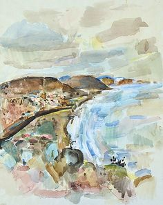 FRED WILLIAMS  Coastline (possibly Lorne) 1959  gouache and watercolour  signed and dated lower left: Fred Williams 59  69.5 x 55cm