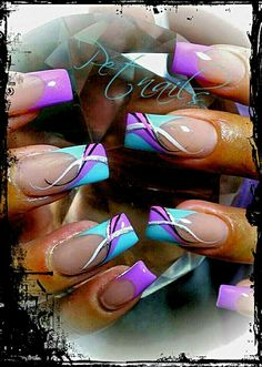 Turquoise Royal.Pink Nail Art ❤