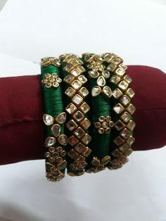 Silk Thread Bangles Design, Silk Bangles, Thread Jewellery, Beaded Bracelets, Wedding Jewelry, Diy Jewelry, Handmade Jewelry, Bridal Chura, Indian Bridal Fashion