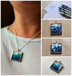Melted Crayon Necklace - melted crayon shavings in a bezel, finished with a dimensional sealer. http://truebluemeandyou.tumblr.com/tagged/jewelry