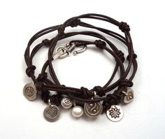 Knotted Leather Wrap Bracelet with Karen Hill Tribe Thai Silver Charms,yoga jewelry,wrapped, wrapping, wrap around,wrist wrap