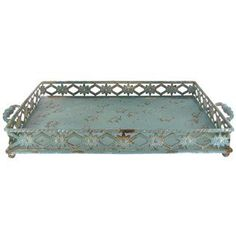 Rustic Metal Tray with Decorative Sides