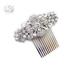 Wedding+Hair+Comb+Rhinestone+Clear+Crystal+hair+by+PureRainDesigns,+$32.00