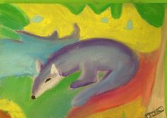 Franz Marc blue fox in soft pastels