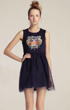 Navy Sleeveless Tiger Embroidery Tank Dress