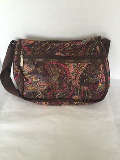 24bbc6e4c36a LeSportSac Shoulder Bag Paisley Print Handbag Purse Le Sports Sac Bronw  Pink Red  LeSportSac